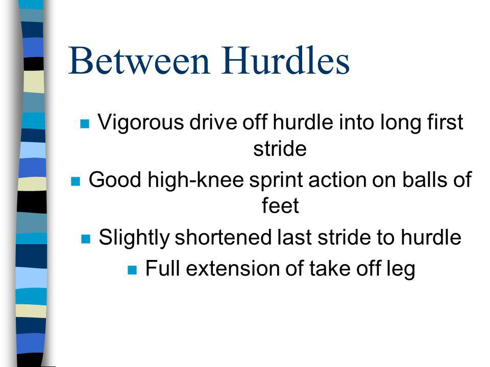 Between Hurdles Vigorous drive off hurdle into long first stride