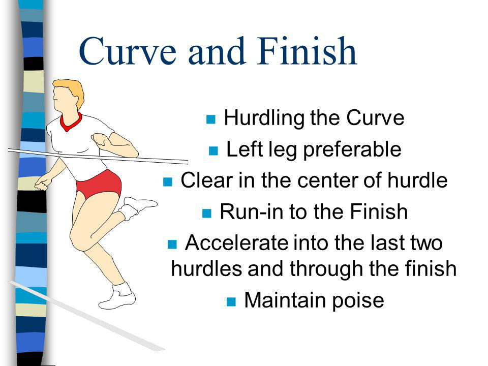Curve and Finish Hurdling the Curve Left leg preferable