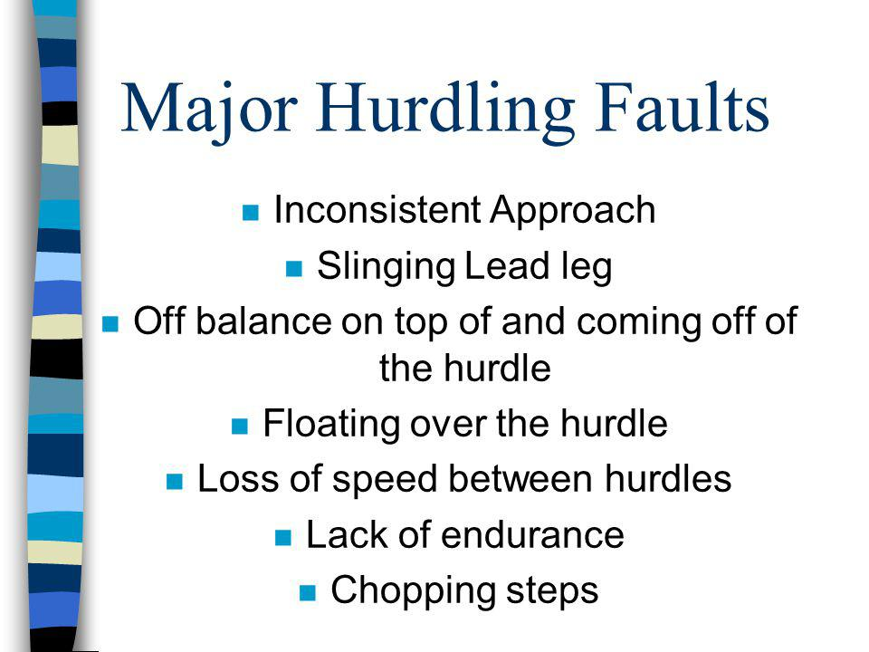 Major Hurdling Faults Inconsistent Approach Slinging Lead leg
