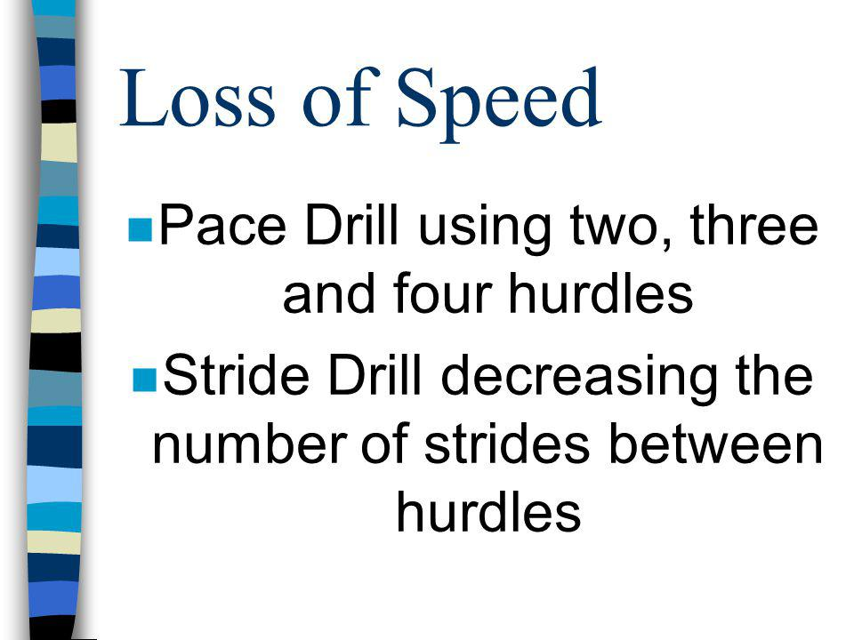 Loss of Speed Pace Drill using two, three and four hurdles