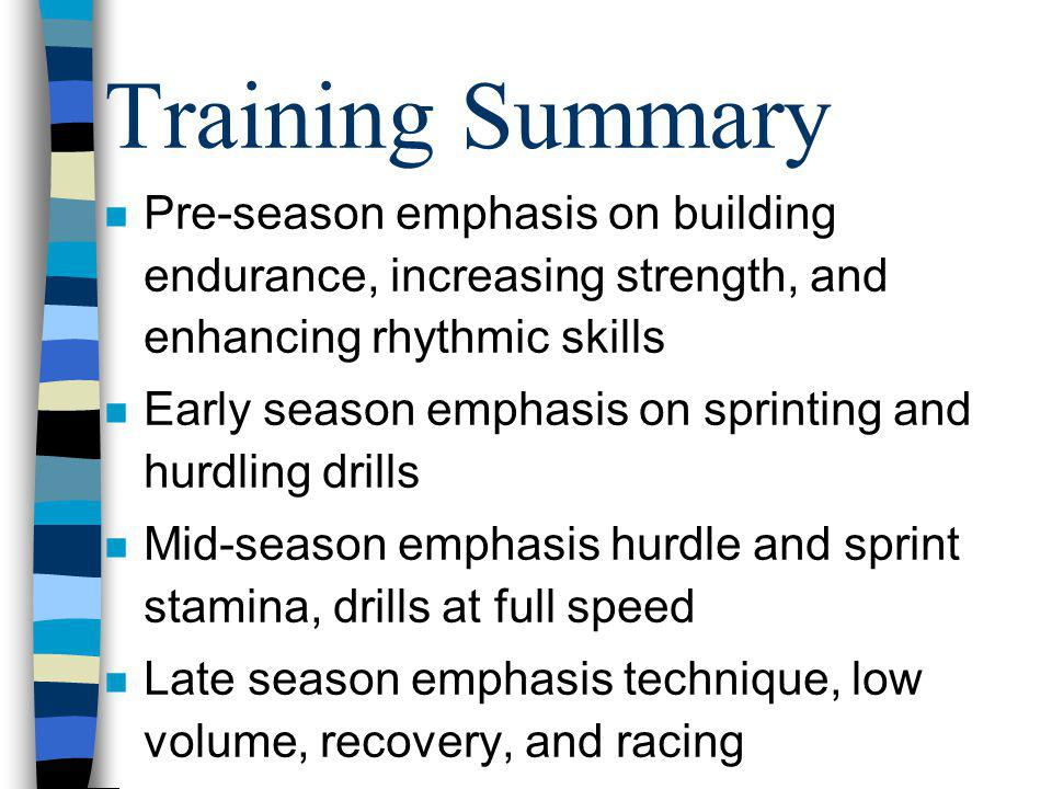 Training Summary Pre-season emphasis on building endurance, increasing strength, and enhancing rhythmic skills.