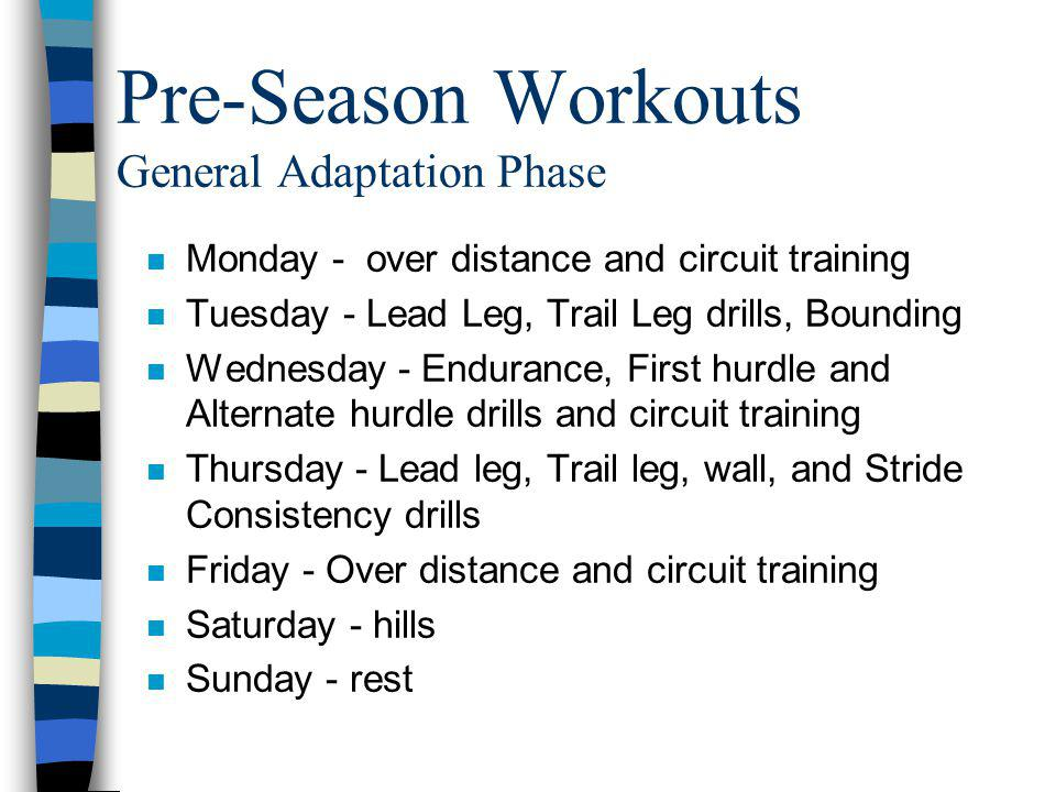 Pre-Season Workouts General Adaptation Phase