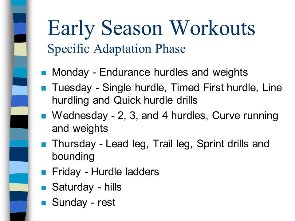 Early Season Workouts Specific Adaptation Phase