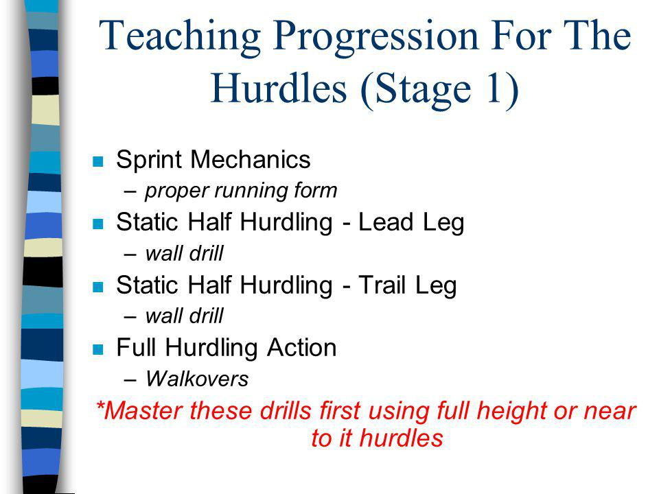Teaching Progression For The Hurdles (Stage 1)