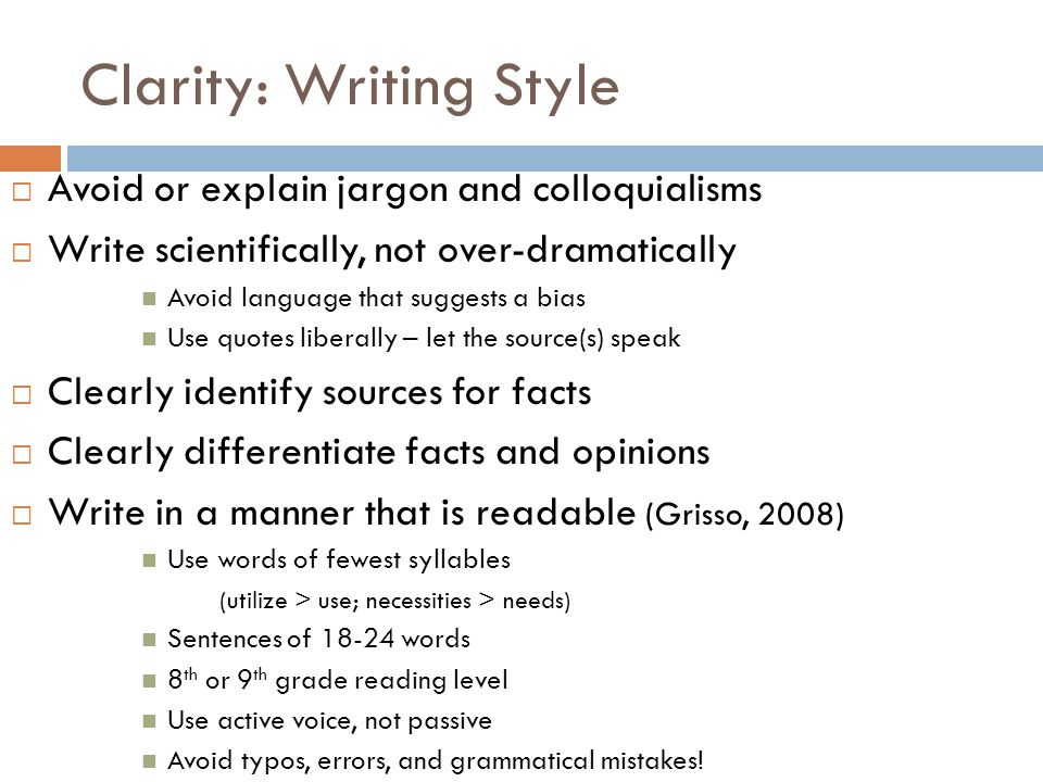 Clarity: Writing Style