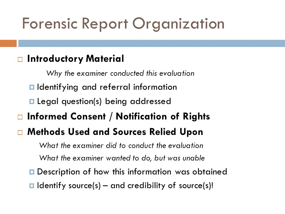 Forensic Report Organization