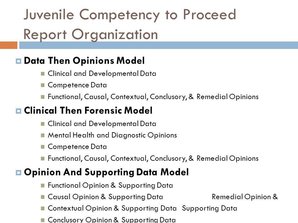 Juvenile Competency to Proceed Report Organization