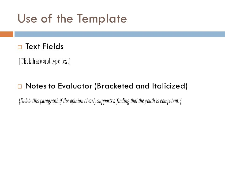 Use of the Template Text Fields