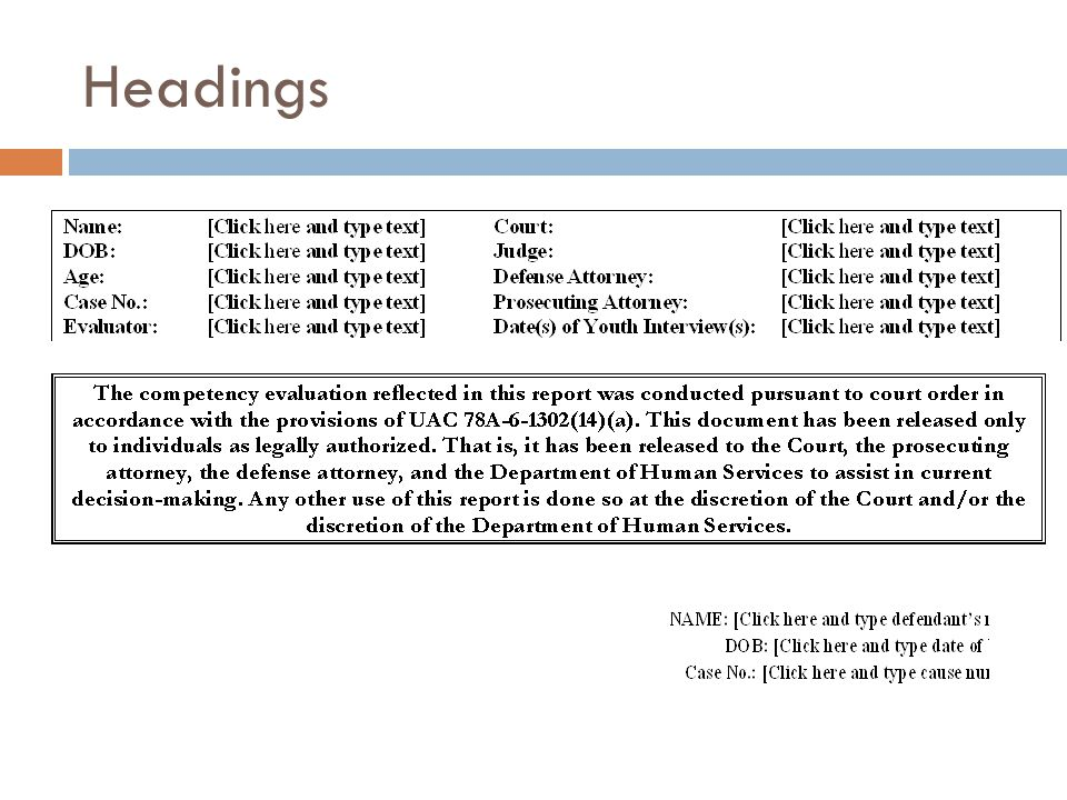 Headings INTRODUCTORY HEADER