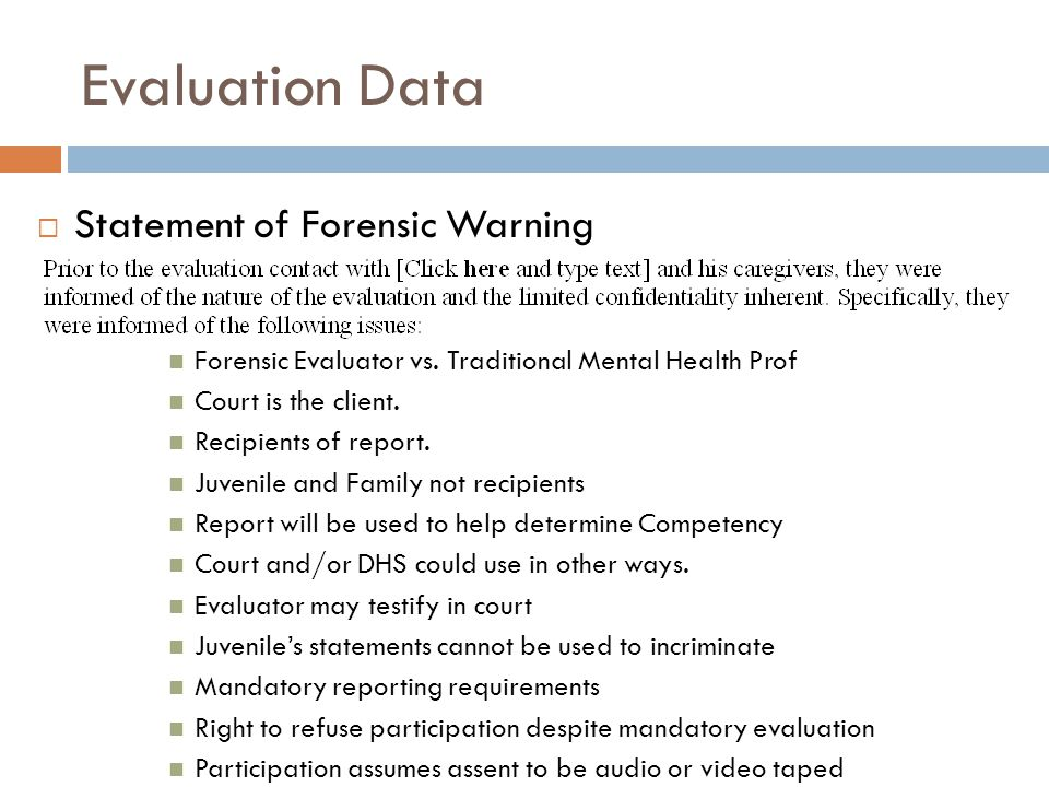 Evaluation Data Statement of Forensic Warning