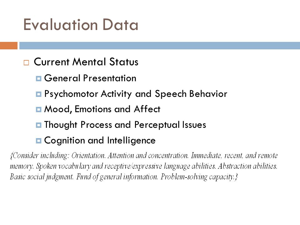Evaluation Data Current Mental Status General Presentation