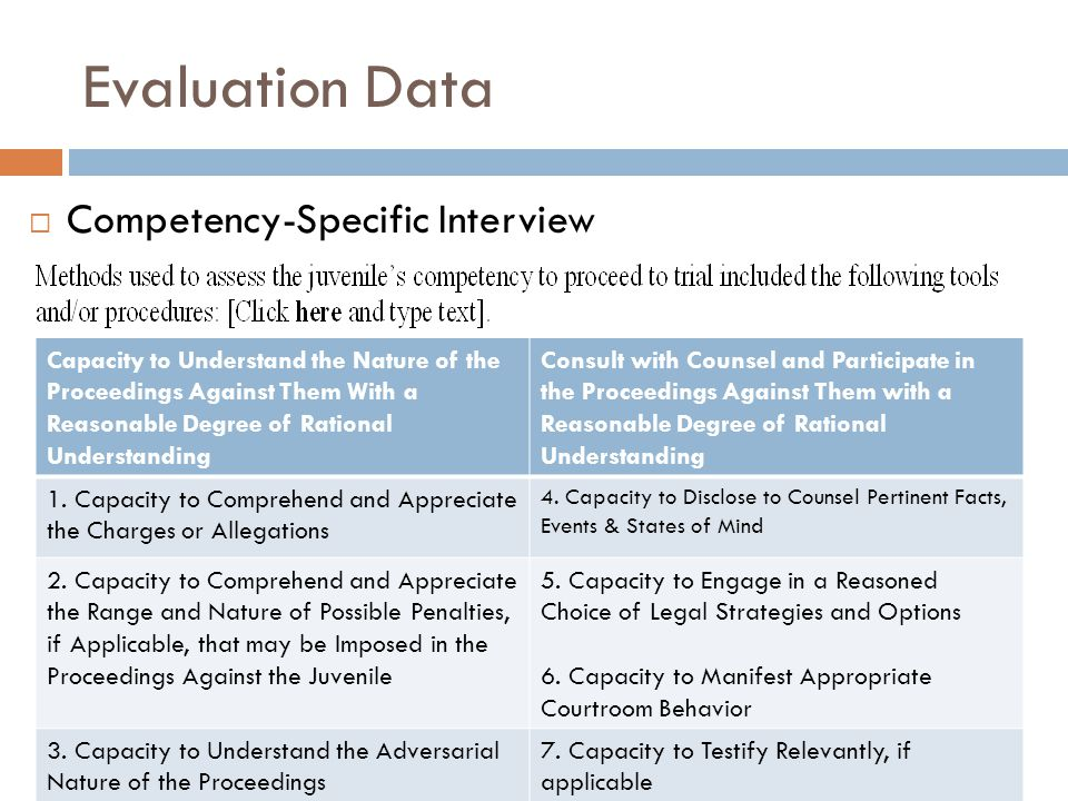 Evaluation Data Competency-Specific Interview