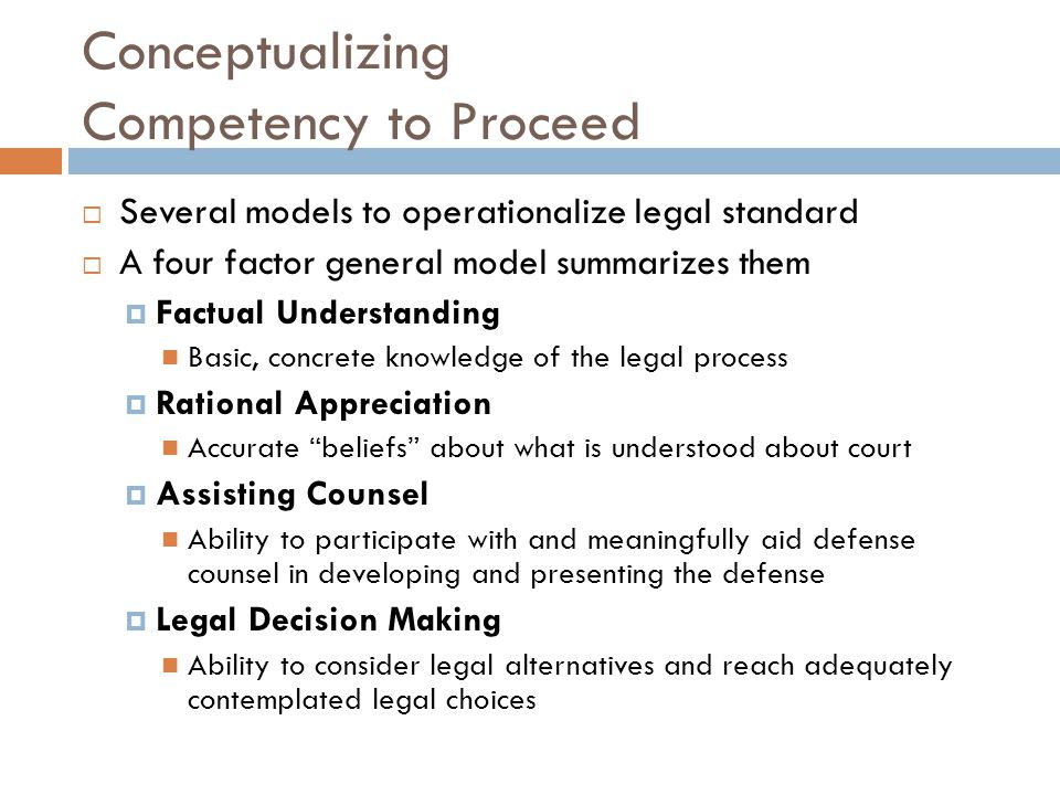 Conceptualizing Competency to Proceed
