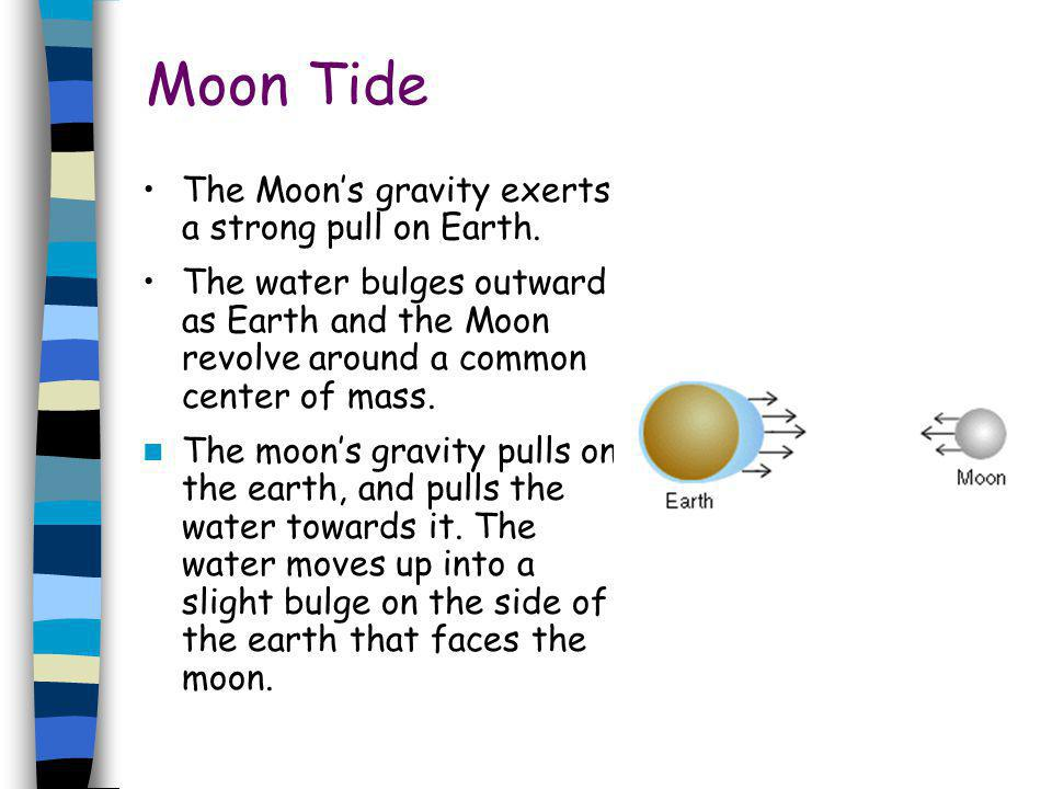 Moon Tide The Moon's gravity exerts a strong pull on Earth.