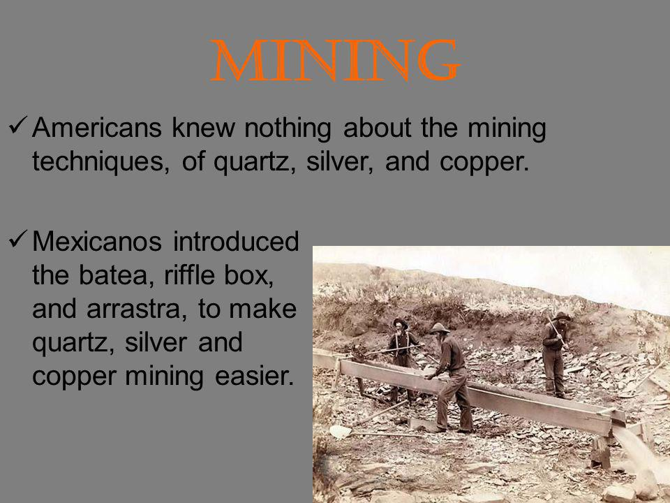 Mining Americans knew nothing about the mining techniques, of quartz, silver, and copper.