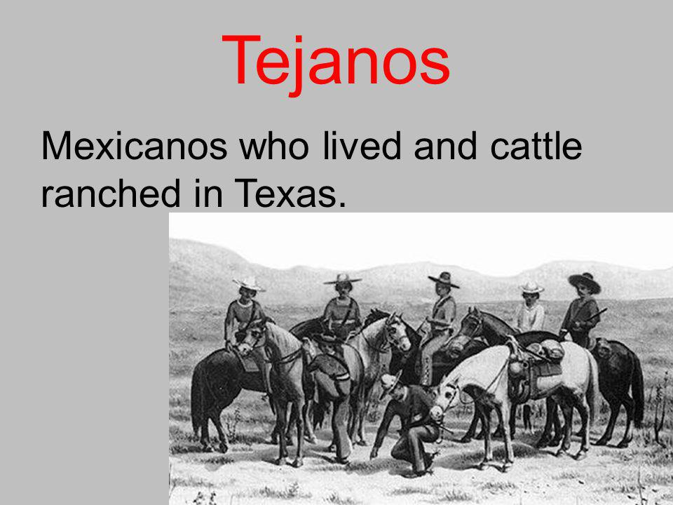 Tejanos Mexicanos who lived and cattle ranched in Texas.
