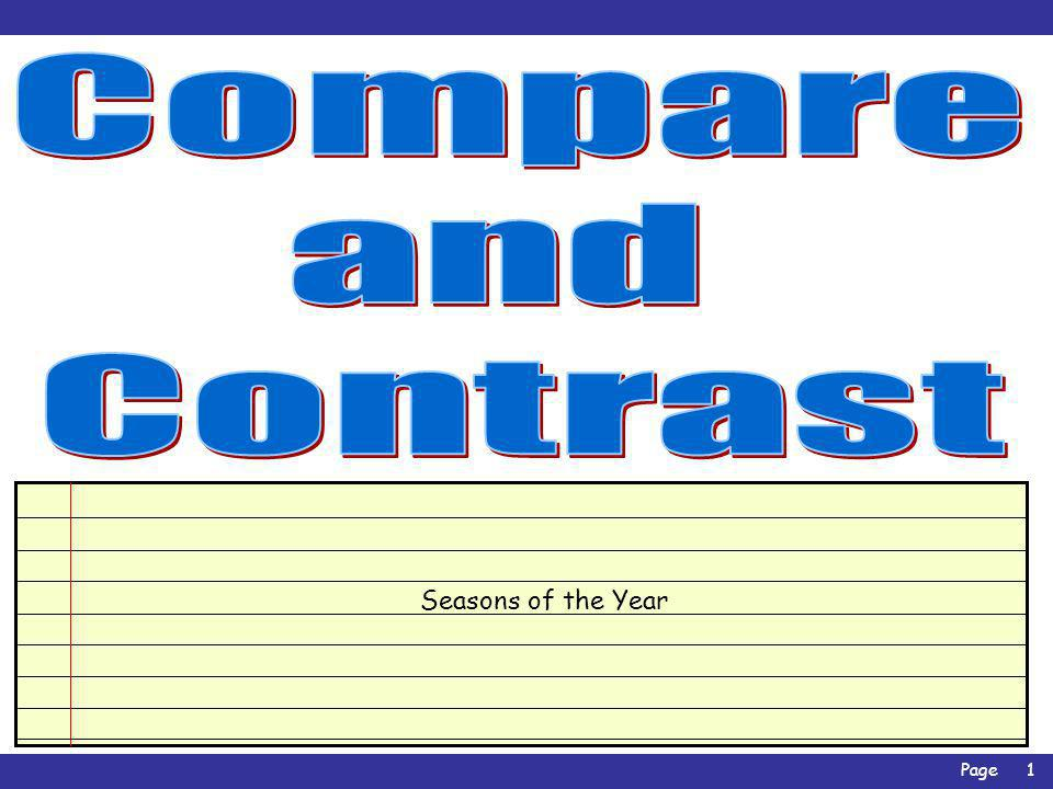 Compare and Contrast Seasons of the Year