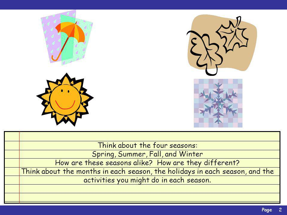 Think about the four seasons: Spring, Summer, Fall, and Winter
