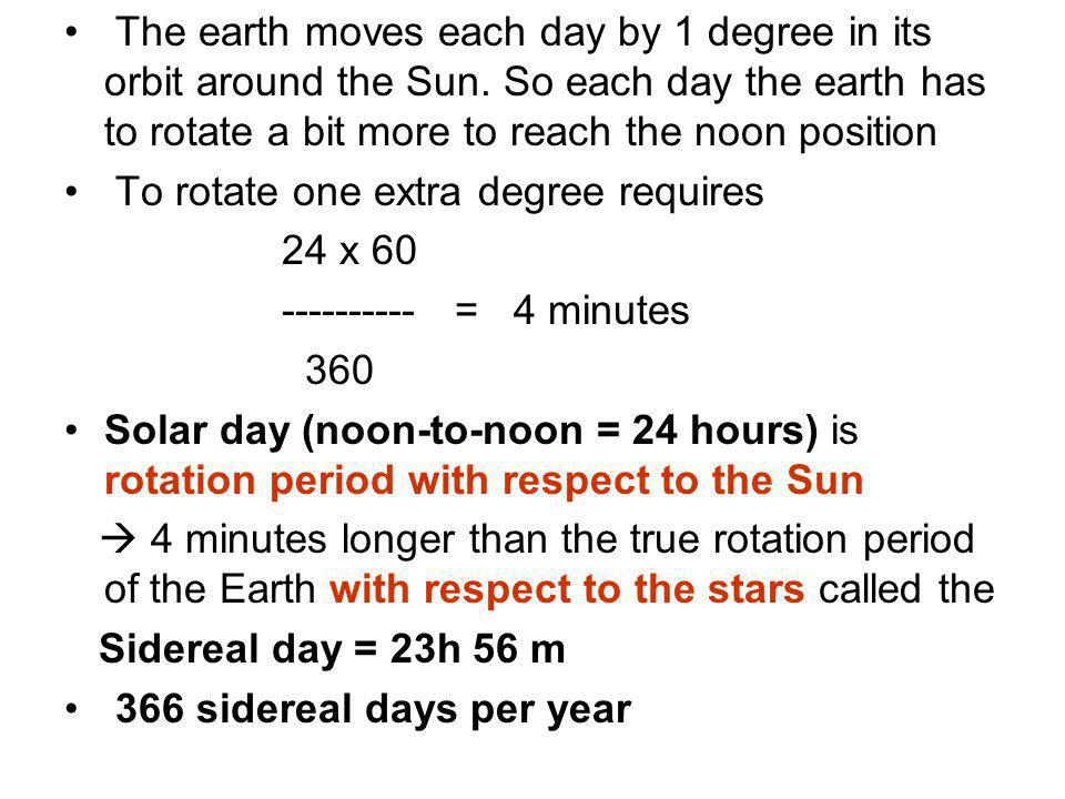 The earth moves each day by 1 degree in its orbit around the Sun