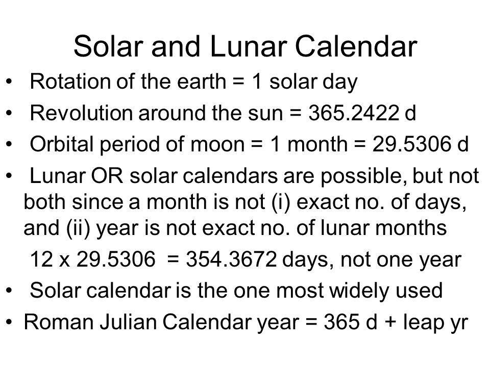 Solar and Lunar Calendar