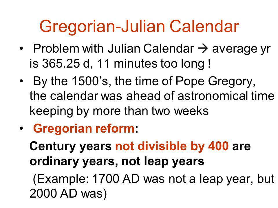 Gregorian-Julian Calendar
