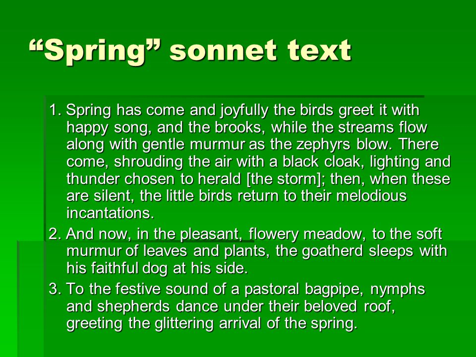 Spring sonnet text