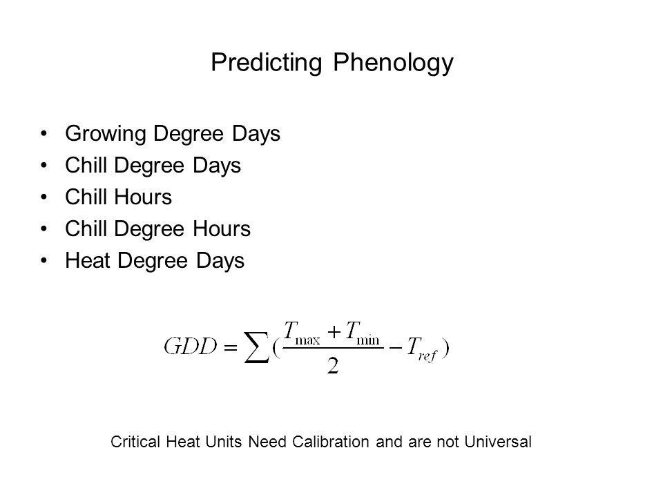 Predicting Phenology Growing Degree Days Chill Degree Days Chill Hours