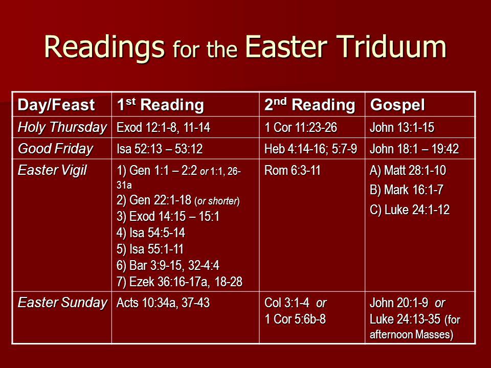 Readings for the Easter Triduum