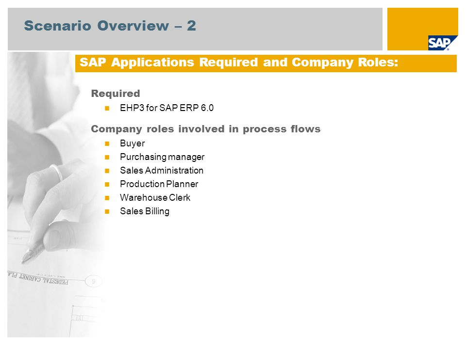 Scenario Overview – 2 SAP Applications Required and Company Roles: