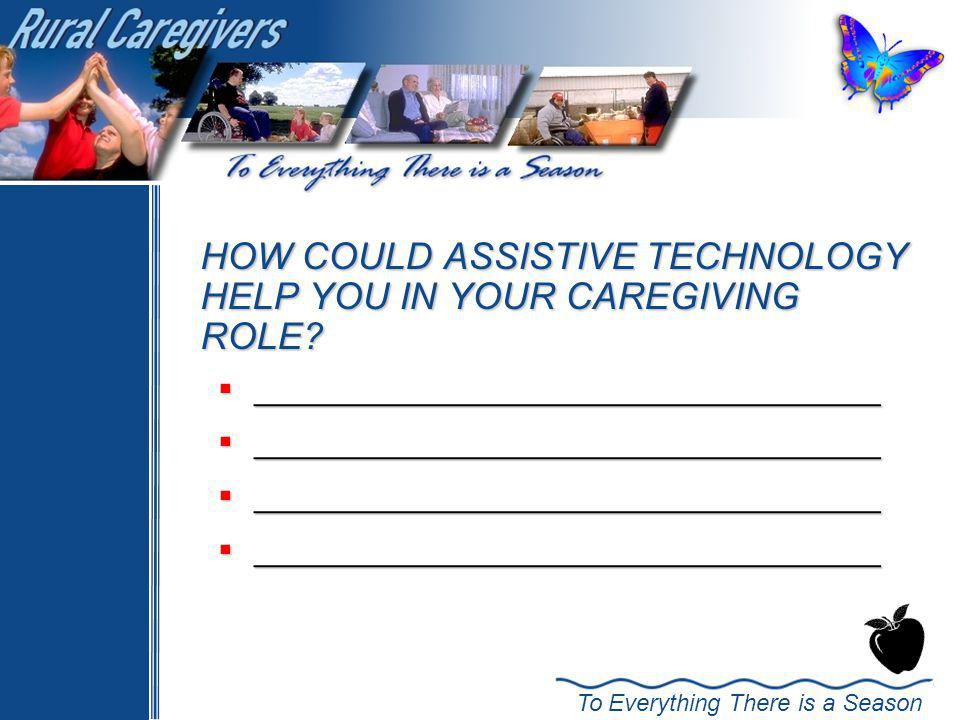 HOW COULD ASSISTIVE TECHNOLOGY HELP YOU IN YOUR CAREGIVING ROLE