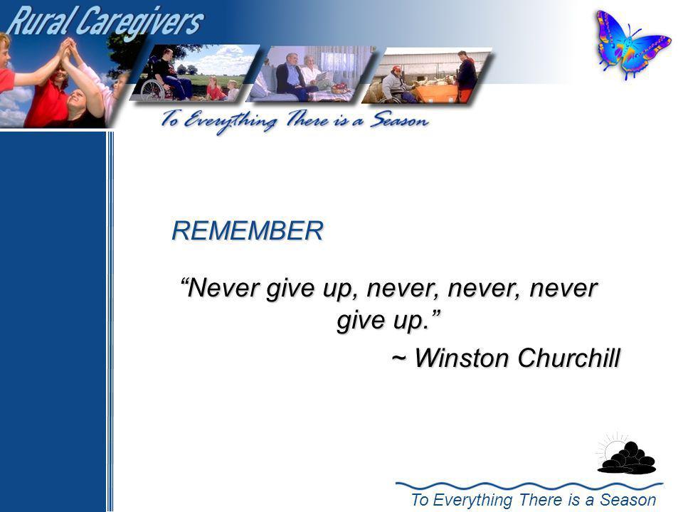 Never give up, never, never, never give up. ~ Winston Churchill