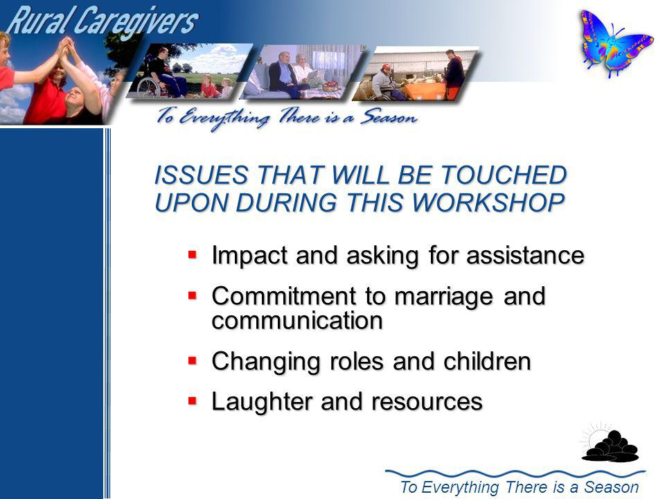 ISSUES THAT WILL BE TOUCHED UPON DURING THIS WORKSHOP
