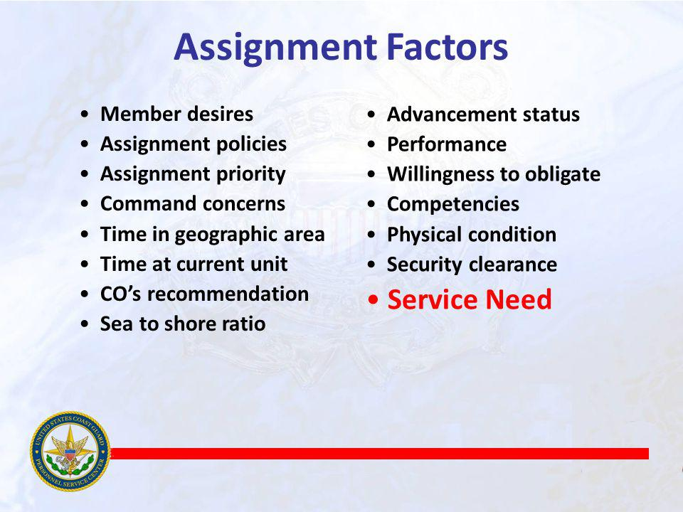 Assignment Factors Service Need Member desires Assignment policies