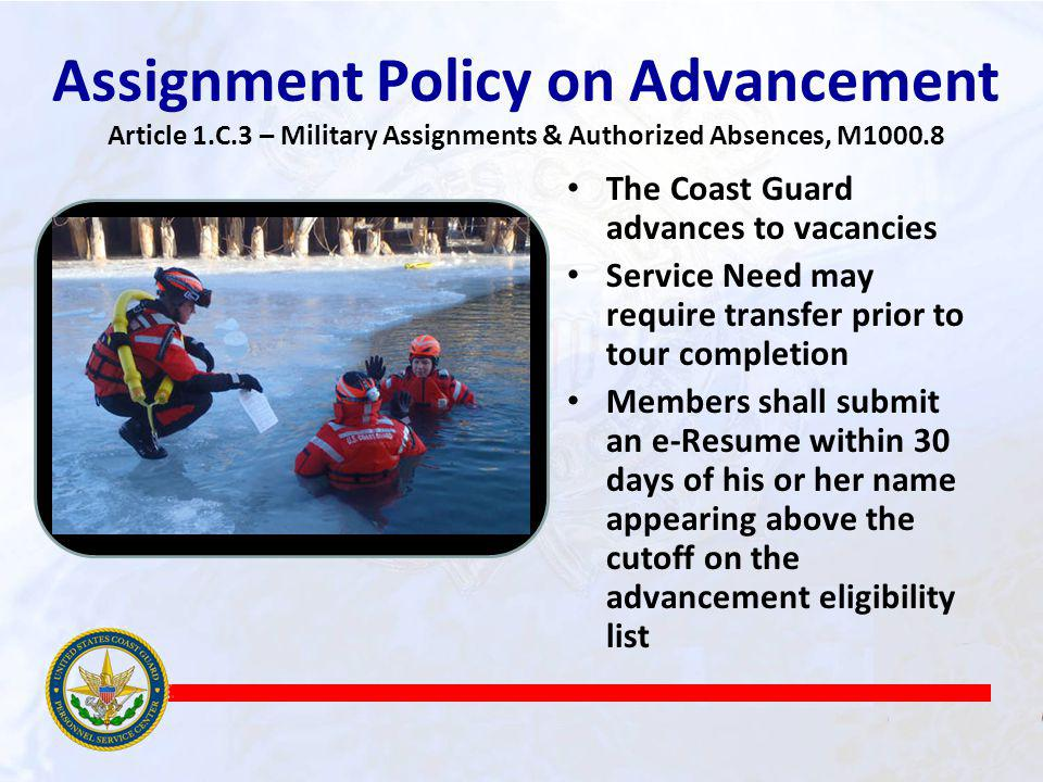 Assignment Policy on Advancement Article 1. C