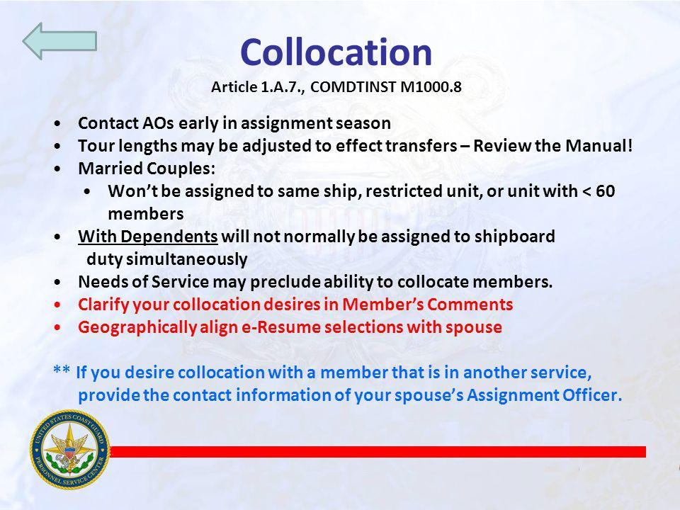 Collocation Contact AOs early in assignment season