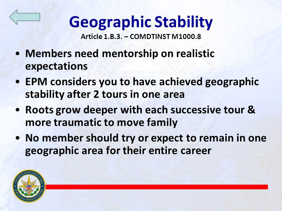 Geographic Stability Article 1.B.3. – COMDTINST M1000.8