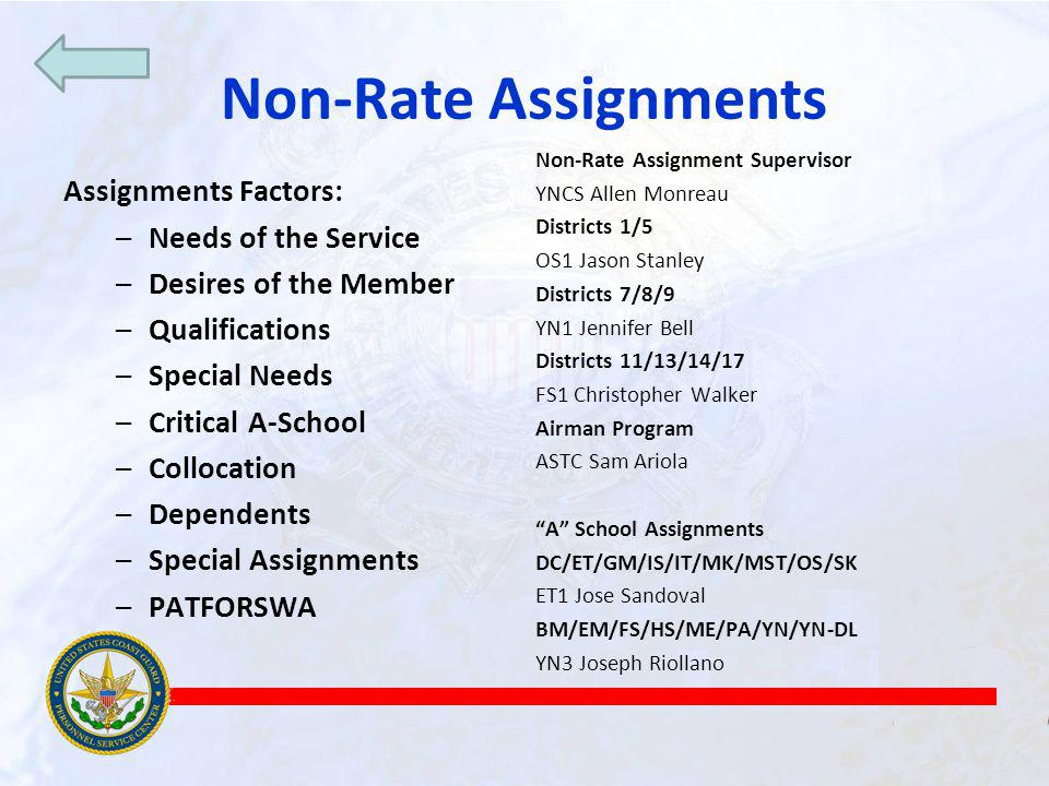 Non-Rate Assignments Assignments Factors: Needs of the Service