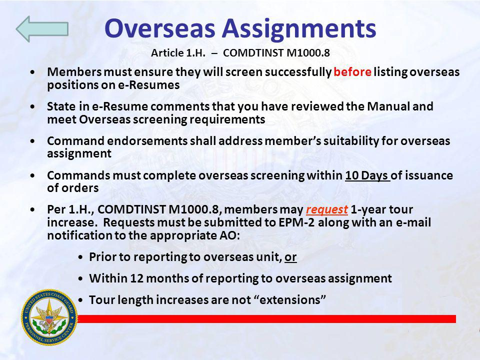 Overseas Assignments Article 1.H. – COMDTINST M