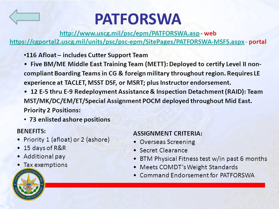http://www.uscg.mil/psc/epm/PATFORSWA.asp - web
