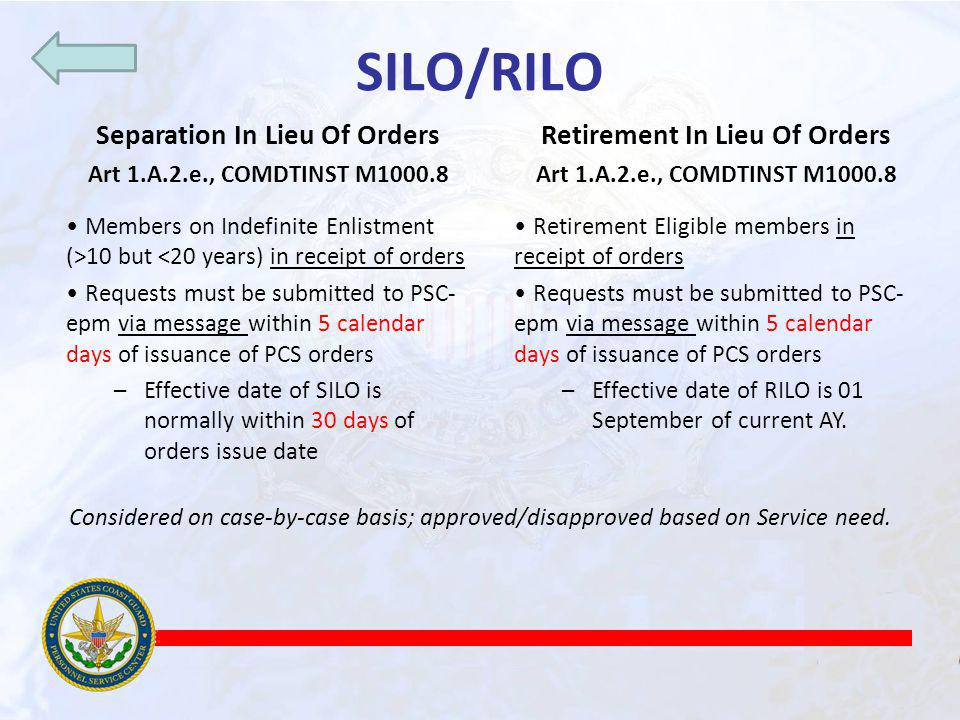 Separation In Lieu Of Orders Retirement In Lieu Of Orders
