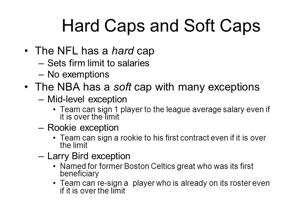 Hard Caps and Soft Caps The NFL has a hard cap