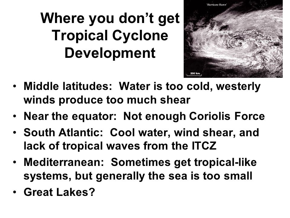 Where you don't get Tropical Cyclone Development