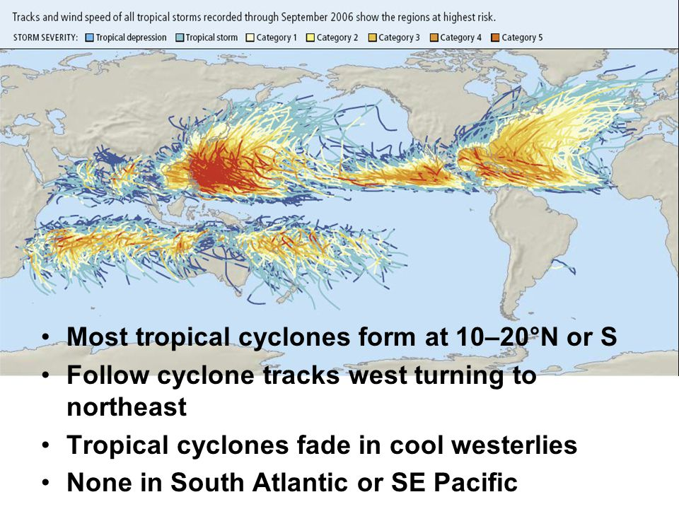 Most tropical cyclones form at 10–20°N or S