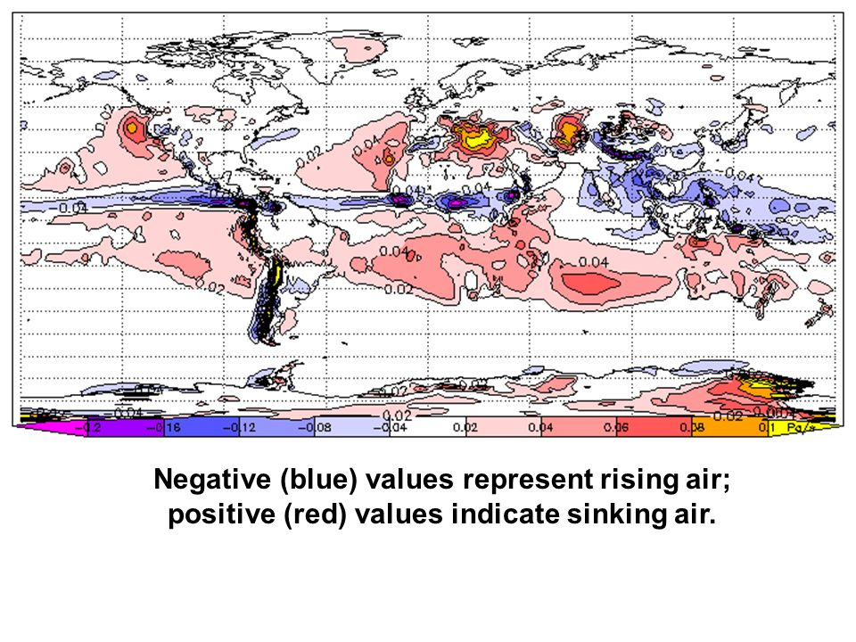 Negative (blue) values represent rising air; positive (red) values indicate sinking air.