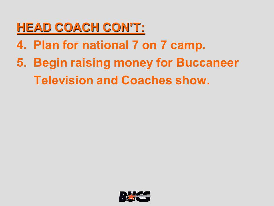HEAD COACH CON'T: 4. Plan for national 7 on 7 camp.