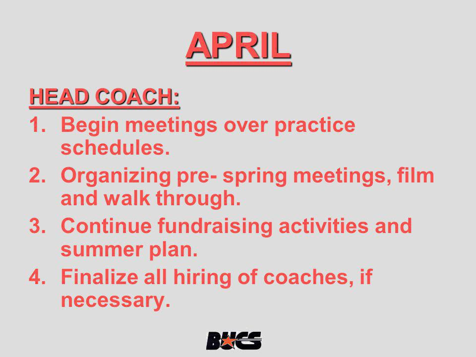 APRIL HEAD COACH: Begin meetings over practice schedules.