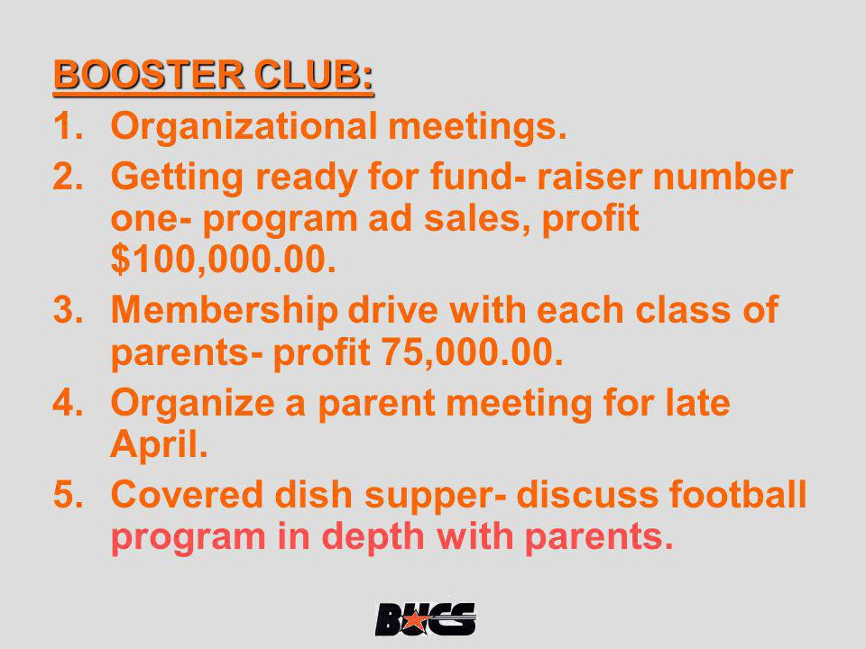 BOOSTER CLUB: Organizational meetings. Getting ready for fund- raiser number one- program ad sales, profit $100,000.00.