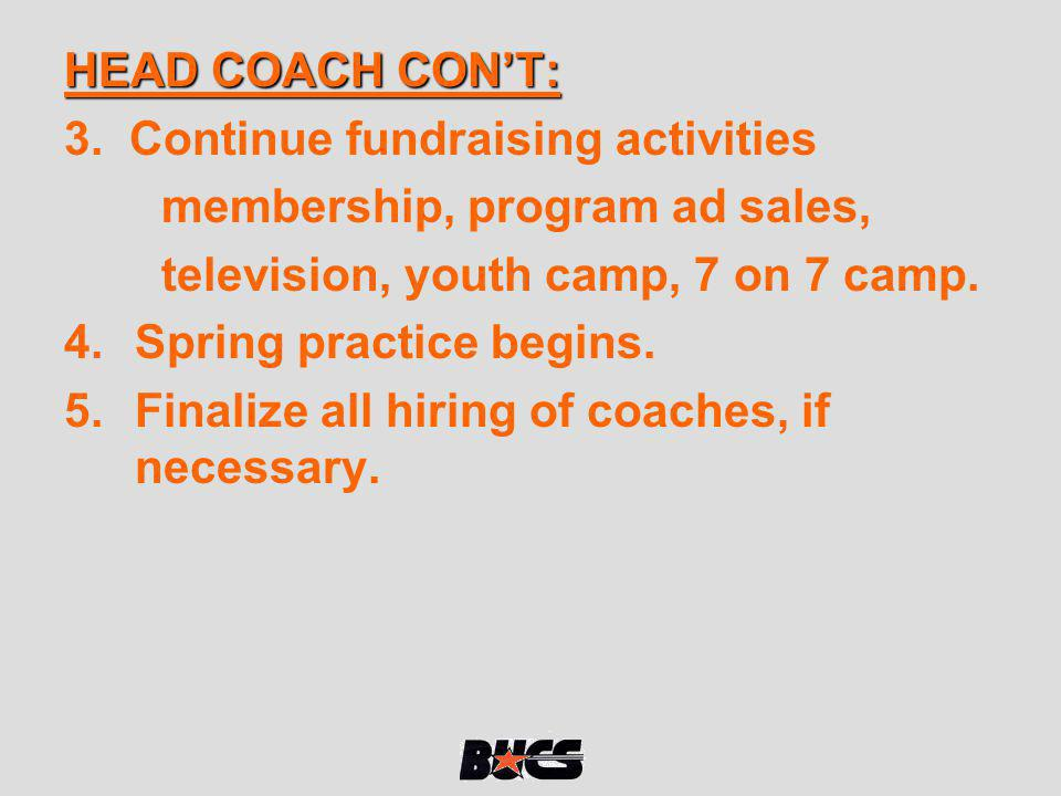 HEAD COACH CON'T: 3. Continue fundraising activities. membership, program ad sales, television, youth camp, 7 on 7 camp.