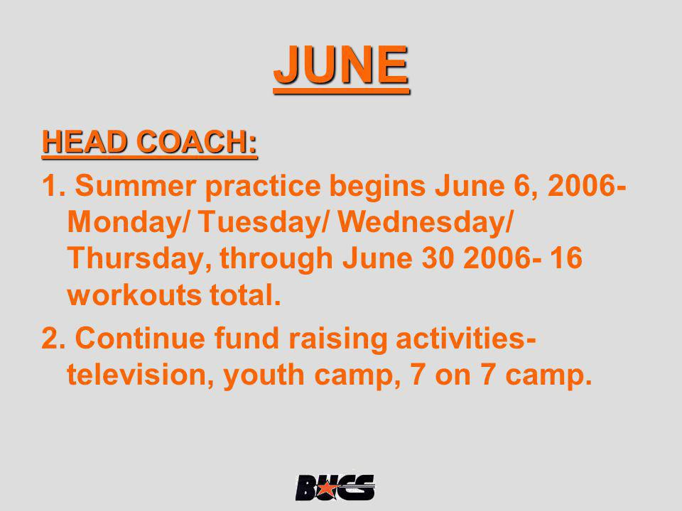 JUNE HEAD COACH: 1. Summer practice begins June 6, 2006- Monday/ Tuesday/ Wednesday/ Thursday, through June 30 2006- 16 workouts total.