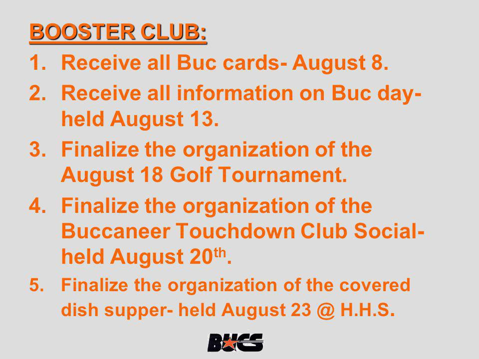 Receive all Buc cards- August 8.